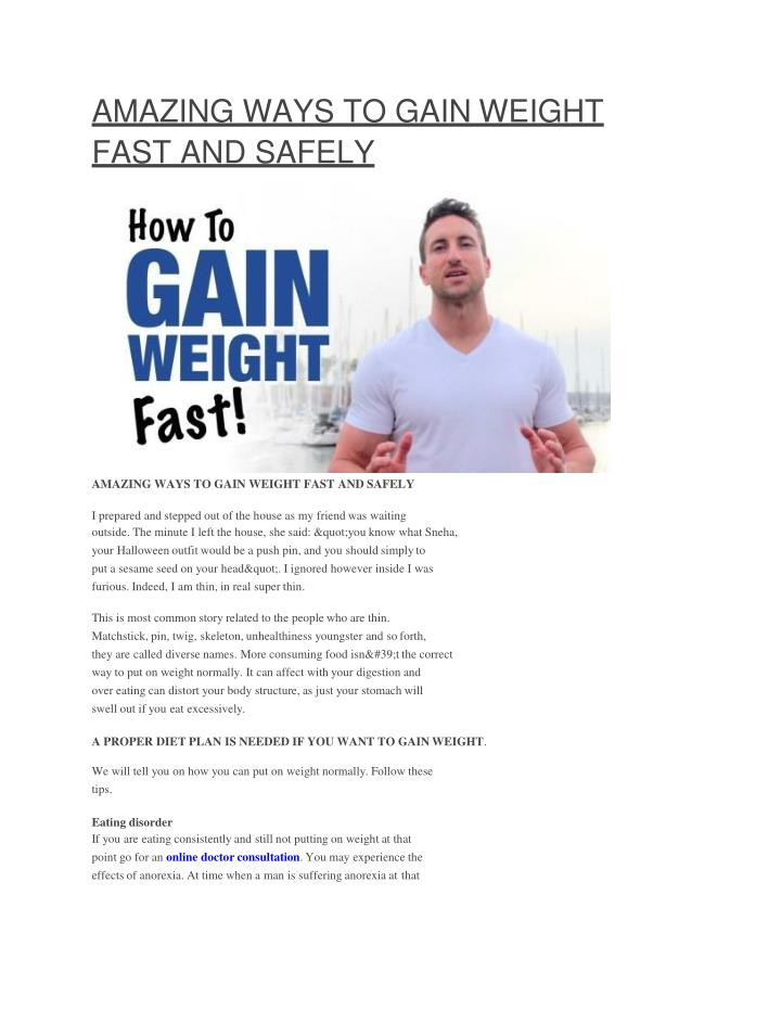 Ppt Amazing Ways To Gain Weight Fast And Safely Powerpoint