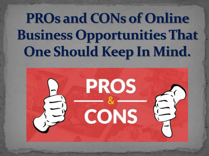pros and cons of online business opportunities that one should keep in mind n.