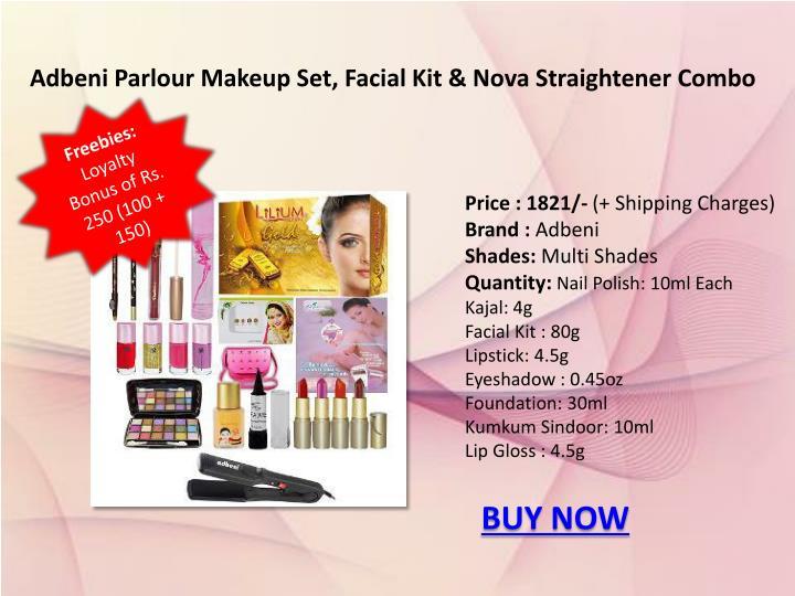 Adbeni Parlour Makeup Set, Facial Kit & Nova Straightener Combo