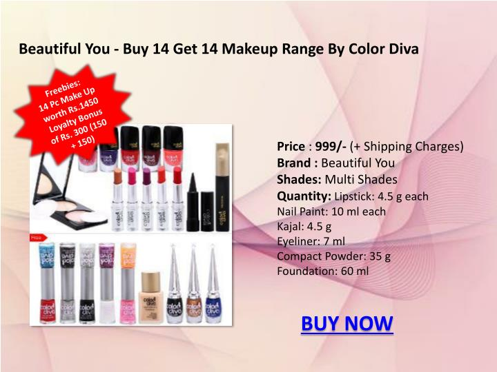 Beautiful You - Buy 14 Get 14 Makeup Range By Color Diva