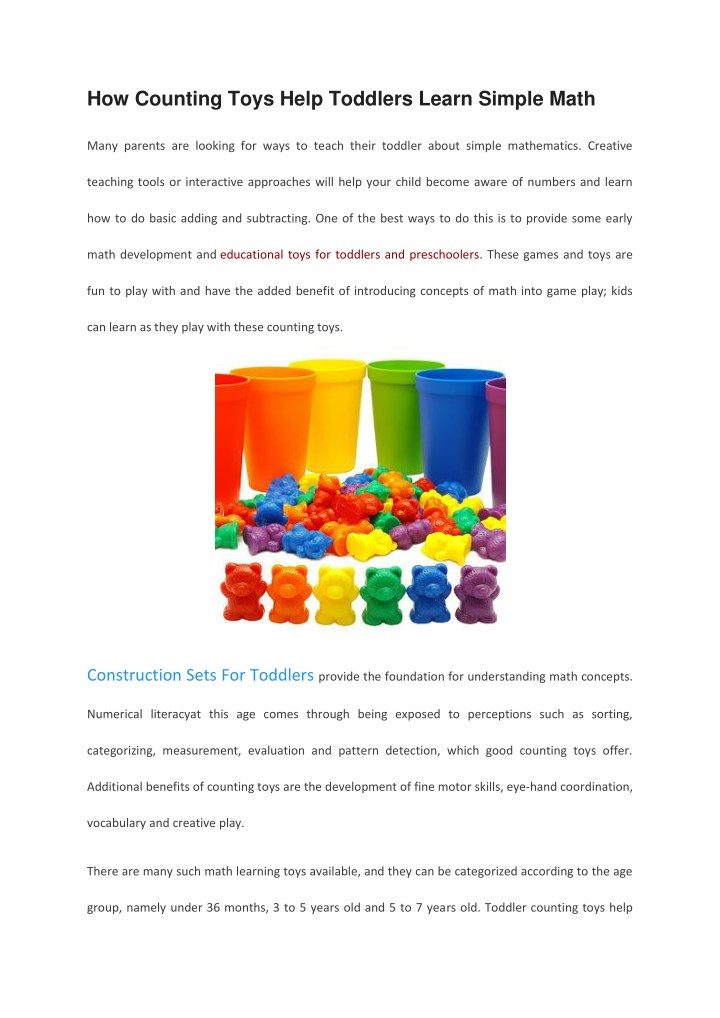 PPT - How Counting Toys Help Toddlers Learn Simple Math PowerPoint ...