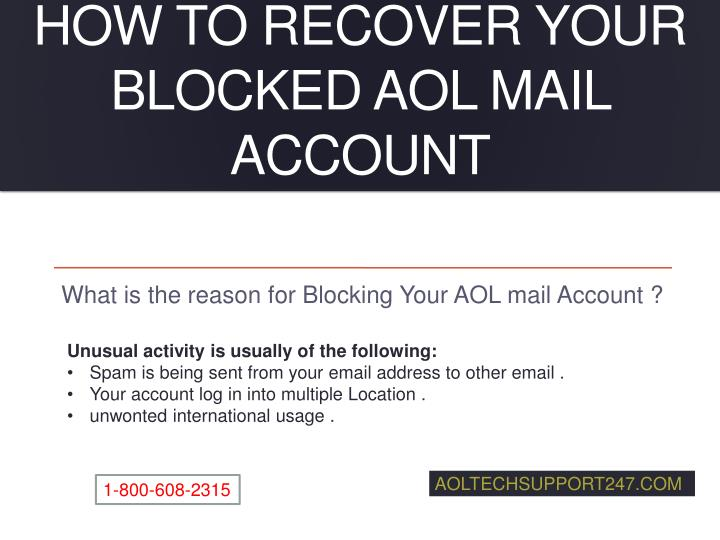 how to recover your blocked aol mail account n.