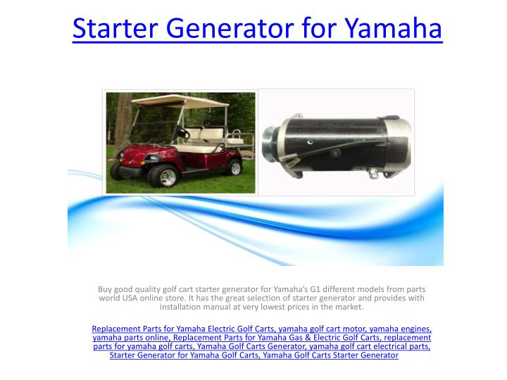 PPT - Starter Generator for Golf Cart PowerPoint