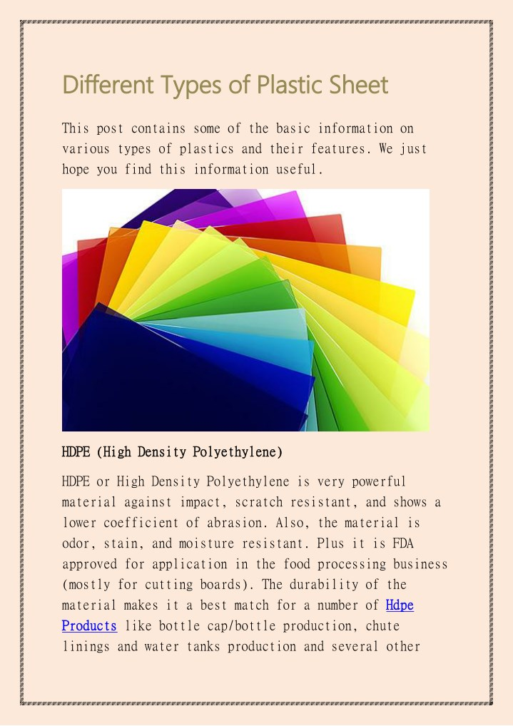 different types of plastic sheet different types n.