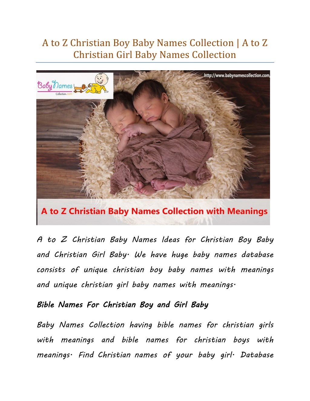 Ppt A To Z Christian Boy Baby Names Collection A To Z Christian
