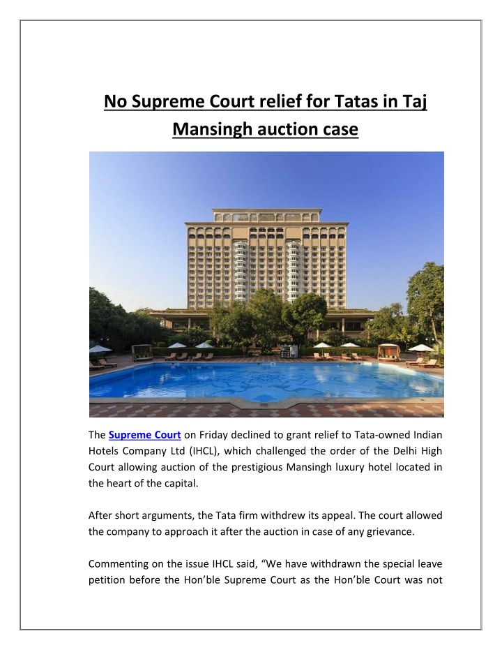no supreme court relief for tatas in taj mansingh n.