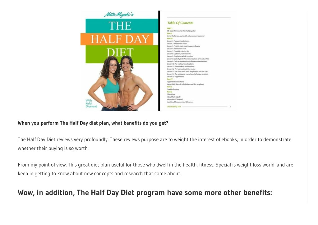 half day diet - the program