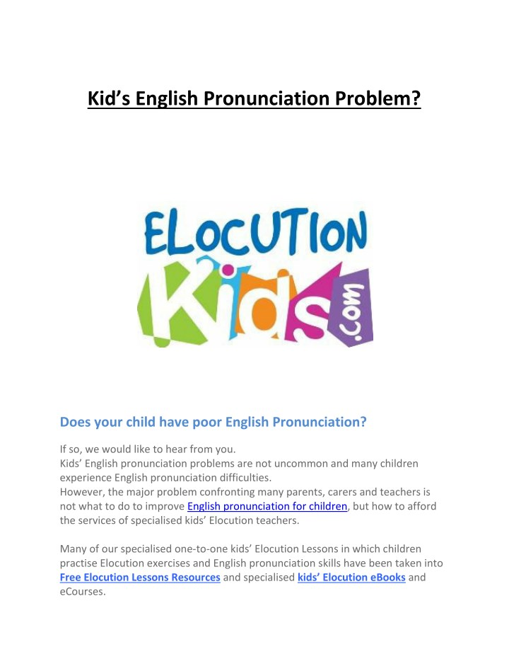 PPT - Kid's English Pronunciation Problem? PowerPoint Presentation