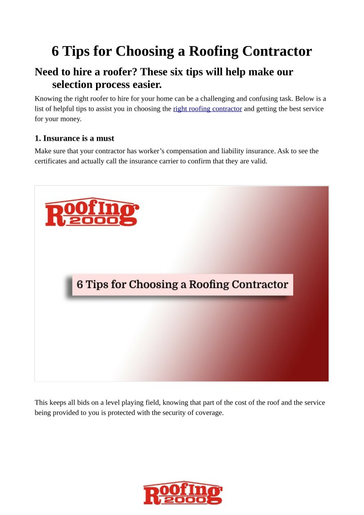 6 tips for choosing a roofing contractor n.