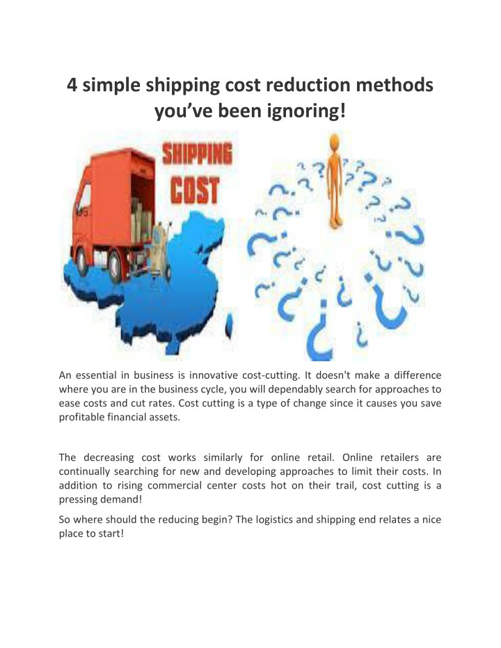 4 simple shipping cost reduction methods n.