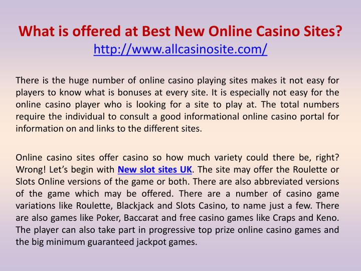 Ppt What Is Offered At Best New Online Casino Sites Powerpoint