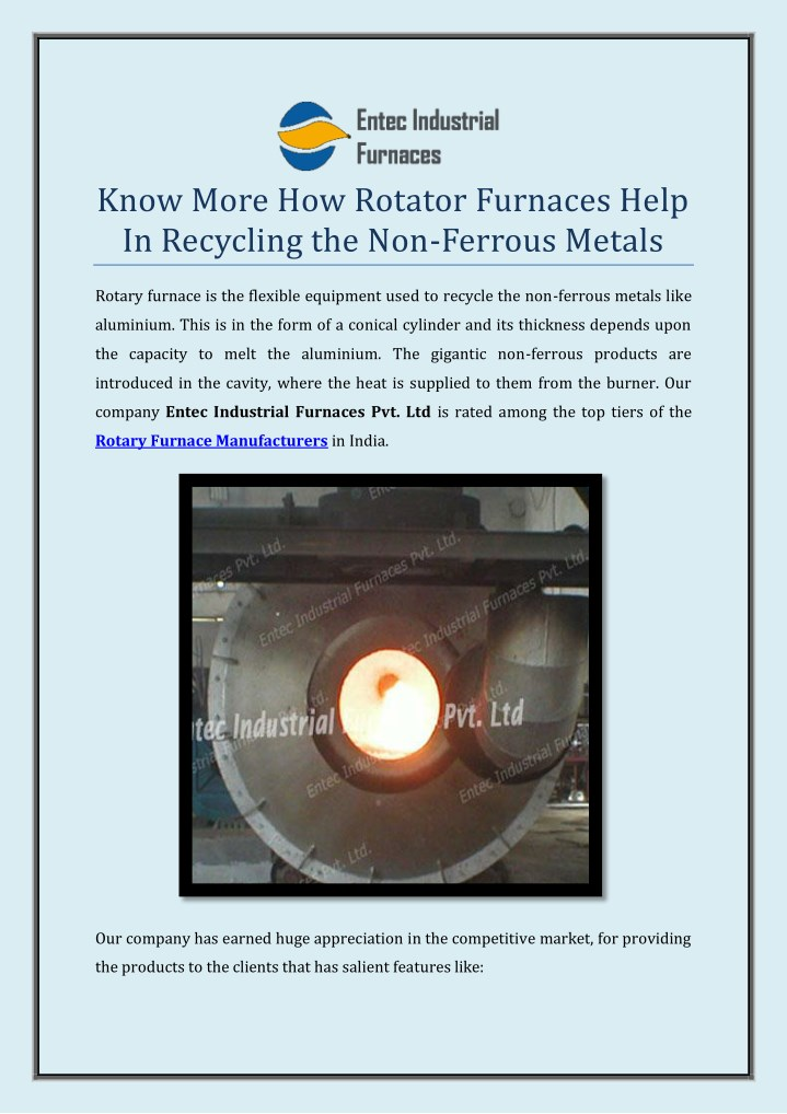 PPT - Know More How Rotator Furnaces Help In Recycling the
