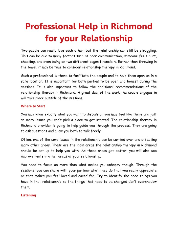 PPT - Professional Help in Richmond for your Relationship