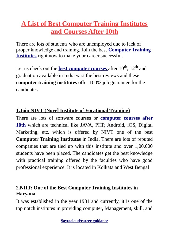 PPT - A List of Best Computer Training Institutes and