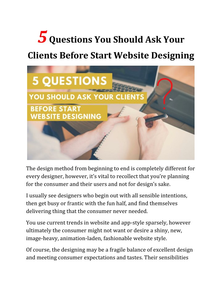 Magnificent Ppt 5 Questions You Should Ask Your Clients Before Start Beutiful Home Inspiration Truamahrainfo
