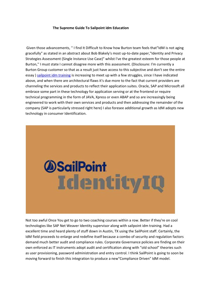 the supreme guide to sailpoint idm education n.