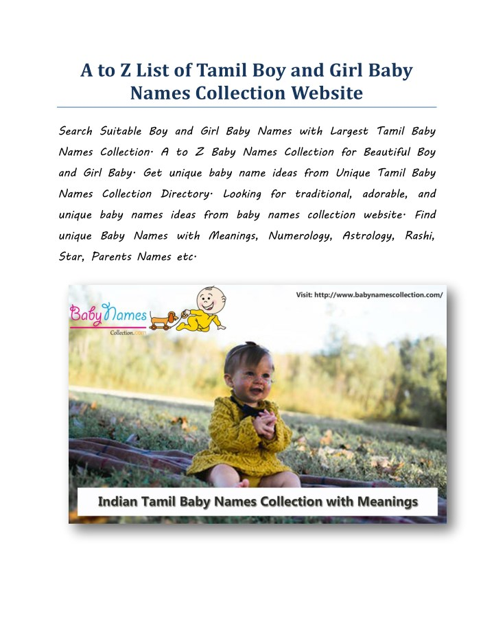 PPT - A to Z Beautiful Tamil Boy and Girl Baby Names Collection