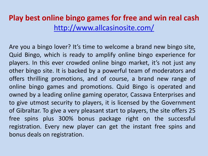 play best online bingo games for free and win real cash http www allcasinosite com n.