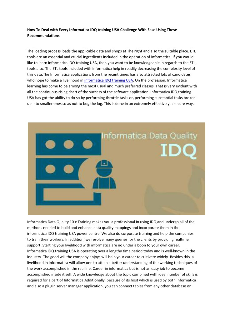 how to deal with every informatica idq training n.