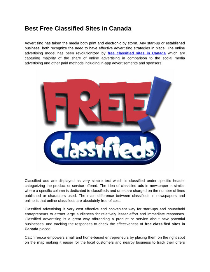 PPT - Best Free Classified Sites in Canada PowerPoint