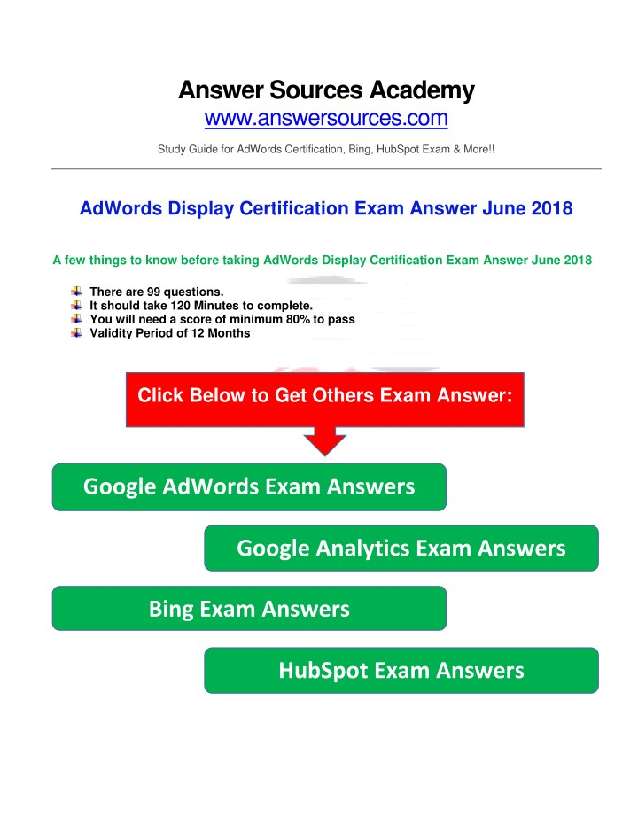 Ppt Adwords Display Certification Exam Answer June 2018 Powerpoint