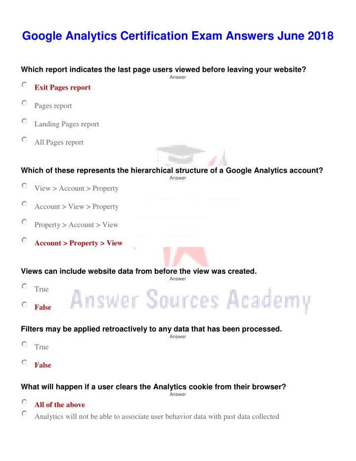 PPT - Google Analytics Certification Exam Answer June 2018 ...