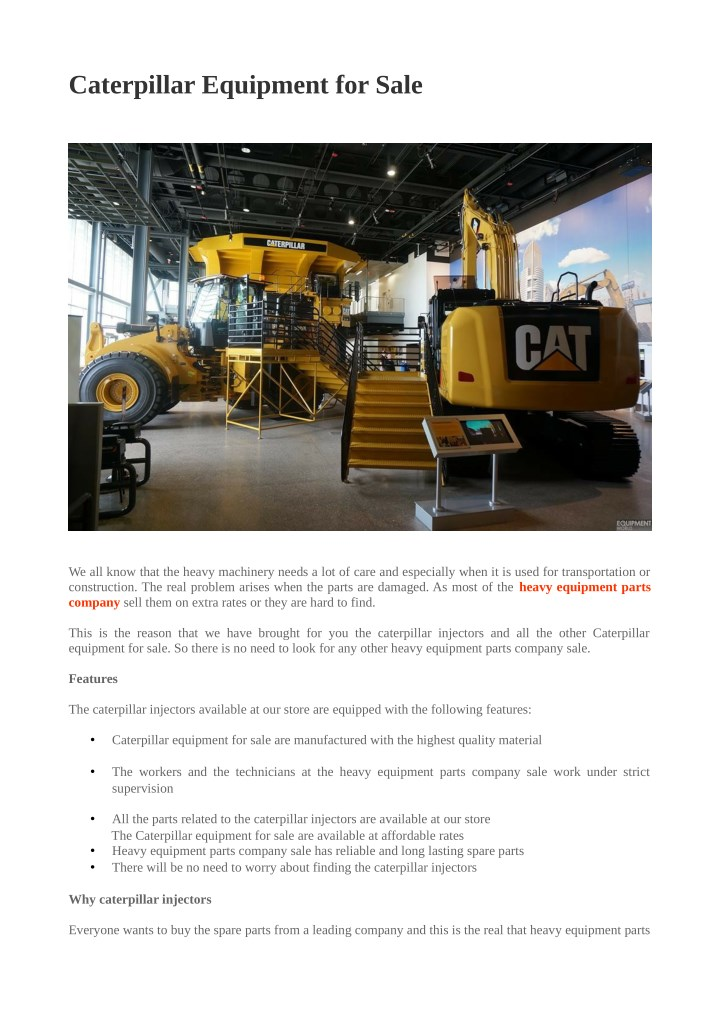 PPT - Caterpillar Equipment for Sale PowerPoint Presentation