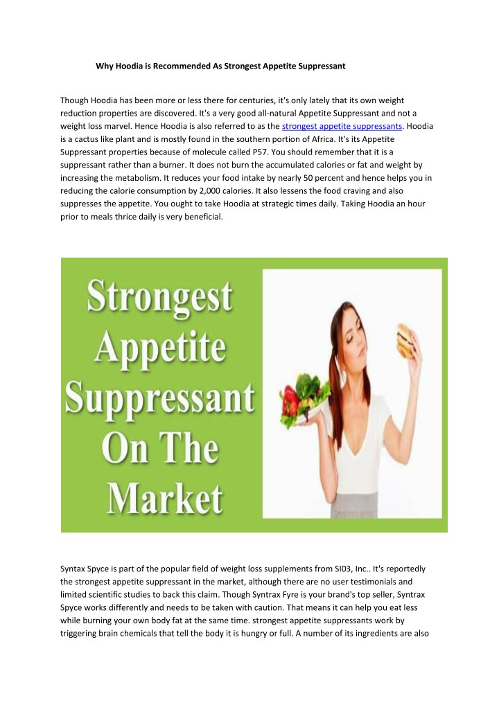 why hoodia is recommended as strongest appetite n.
