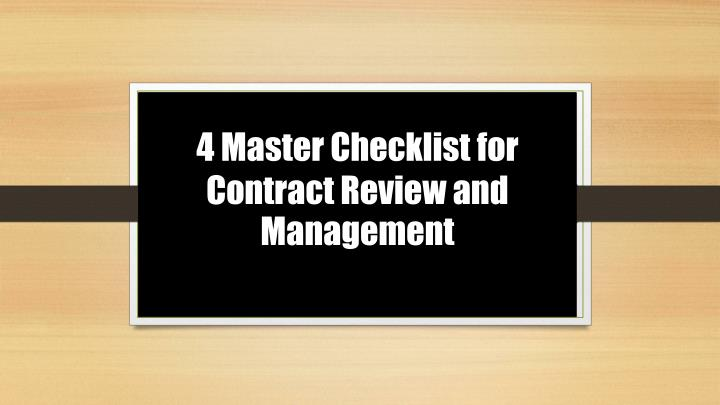 4 master checklist for contract review and management n.