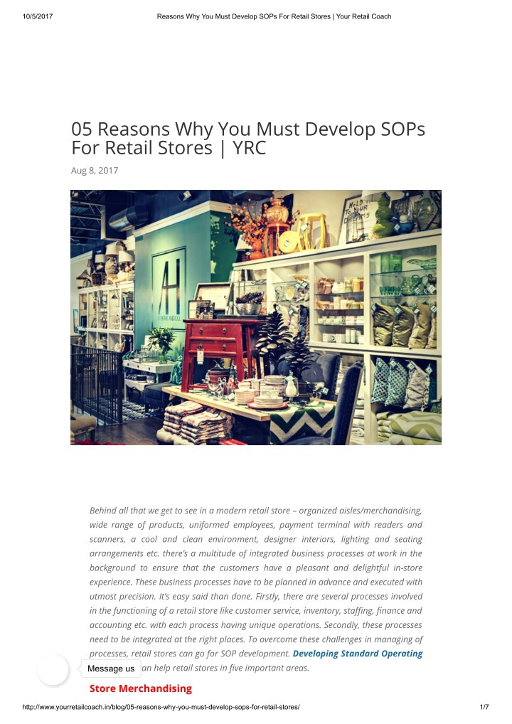 PPT - 5 Reasons Why You Must Develop SOPs For Retail Stores | YRC