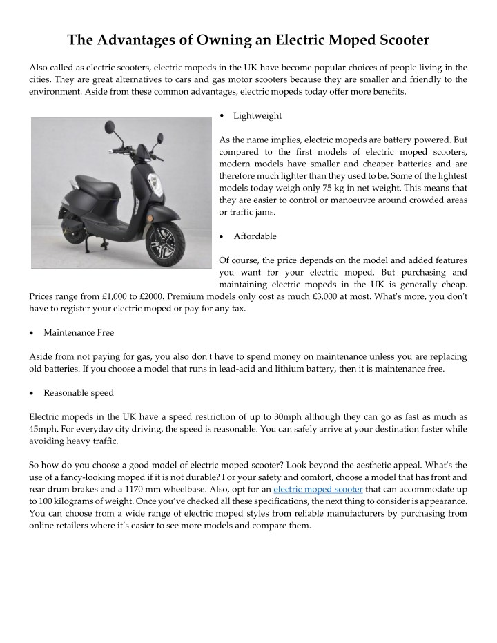 PPT - The Advantages of Owning an Electric Moped Scooter