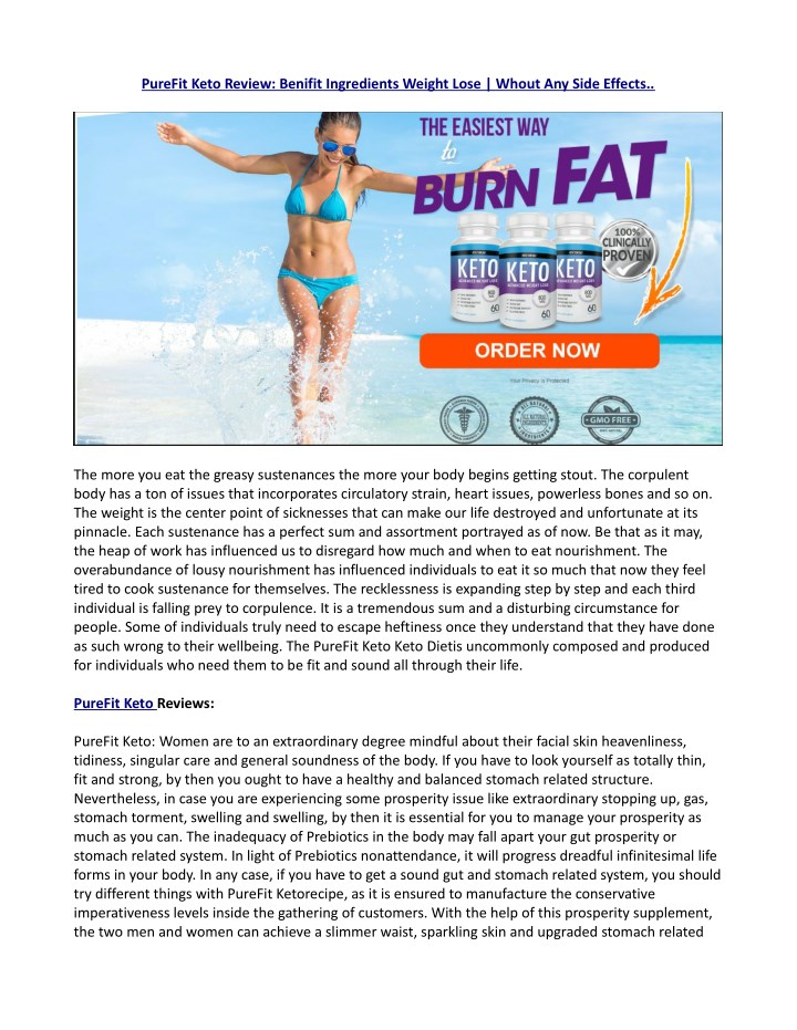 purefit keto review benifit ingredients weight n.