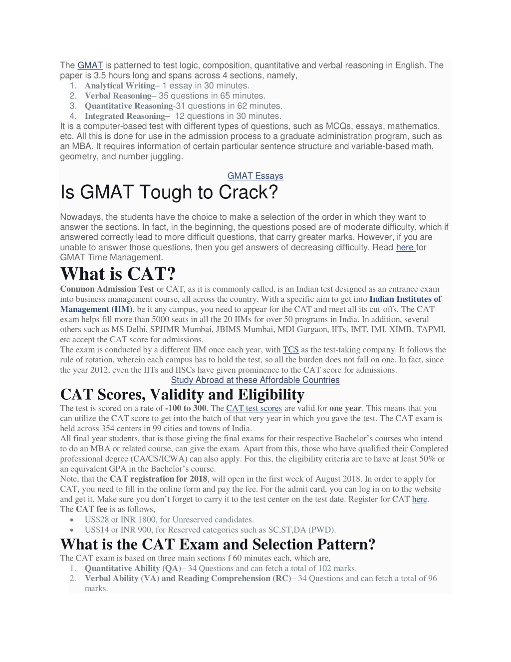 PPT - GMAT vs CAT: Which is the best for MBA? PowerPoint