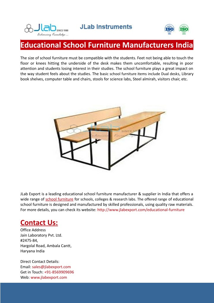 Ppt Educational School Furniture Manufacturers India Powerpoint