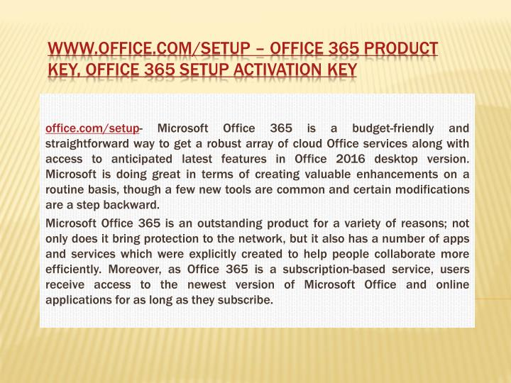 www.office.com/setup enter product key