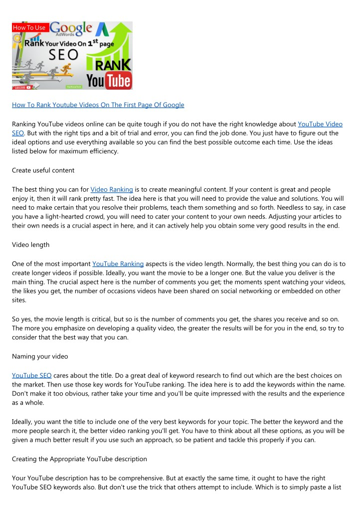 Ppt How To Rank Youtube Videos On The First Page Of Google