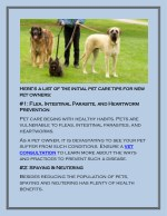 here s a list of the initial pet care tips