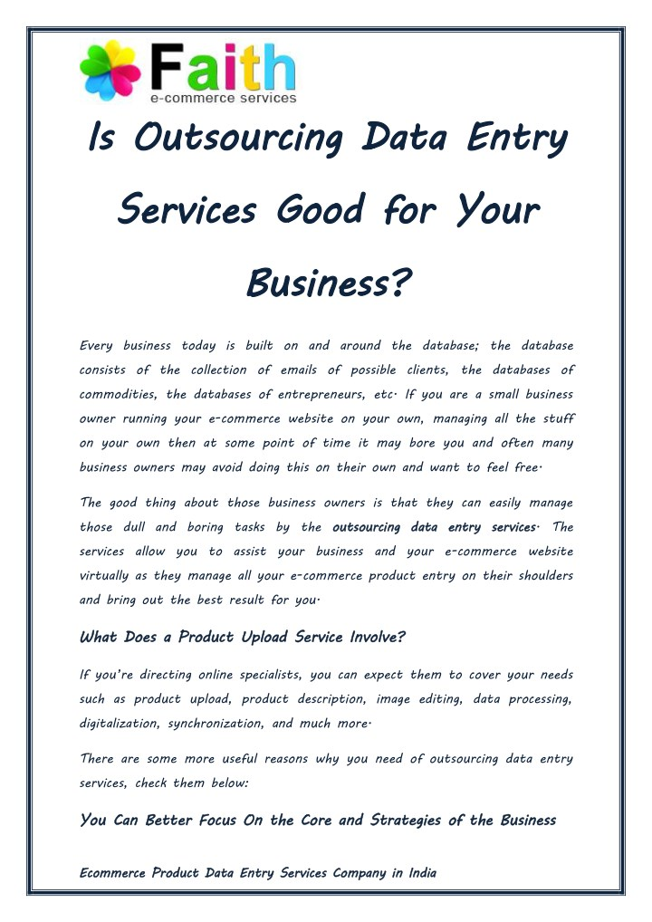 is outsourcing data entry services good for your n.