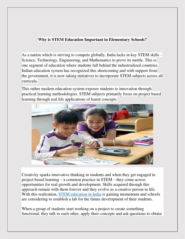 why is stem education important in elementary n.