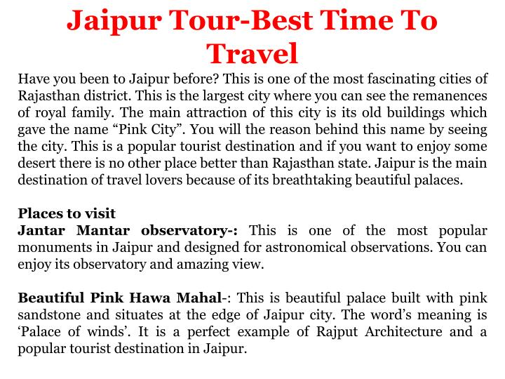 jaipur tour best time to travel have you been n.