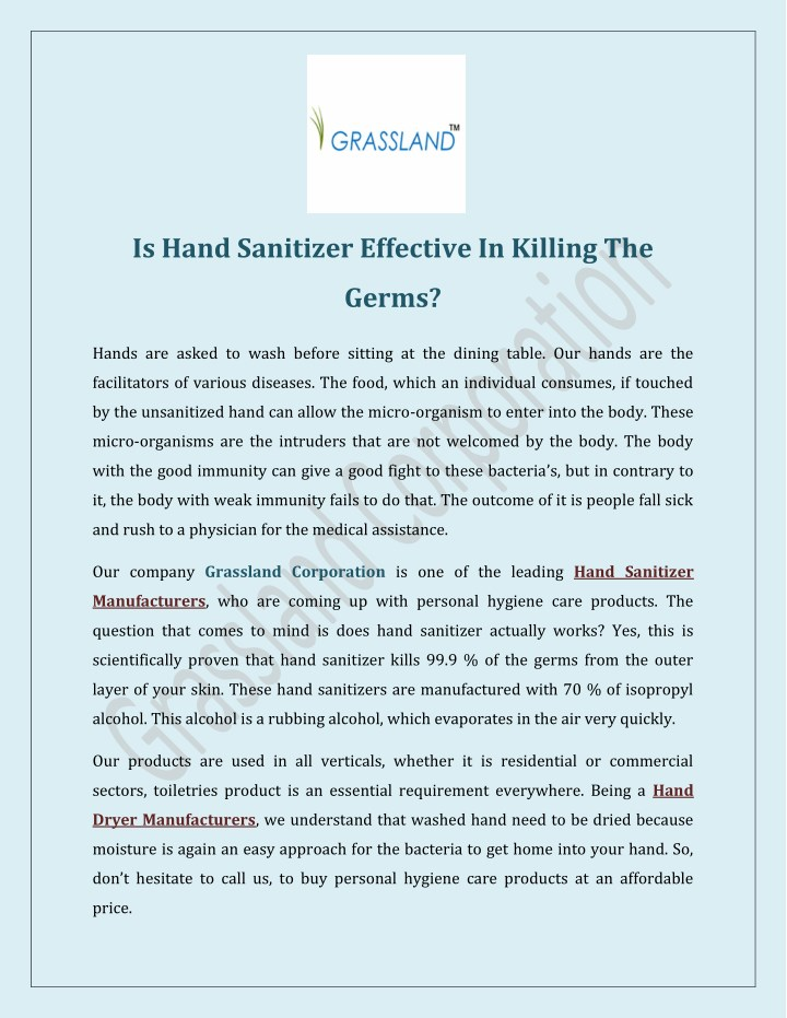 is hand sanitizer effective in killing the n.