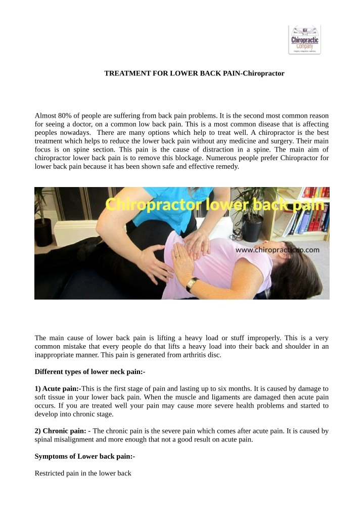 treatment for lower back pain chiropractor n.