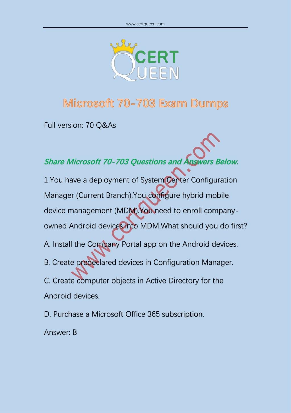 Ppt 2018 Certqueen Microsoft Sccm 70 703 Exam Dumps Powerpoint