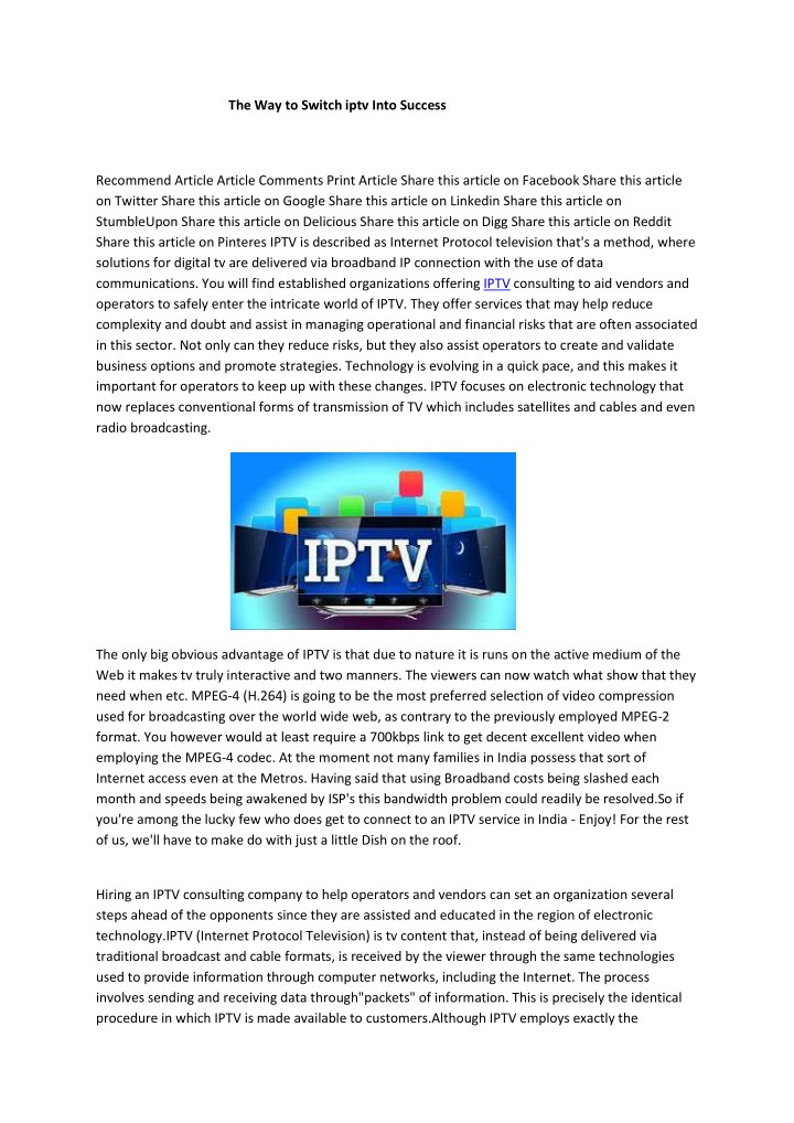 the way to switch iptv into success n.