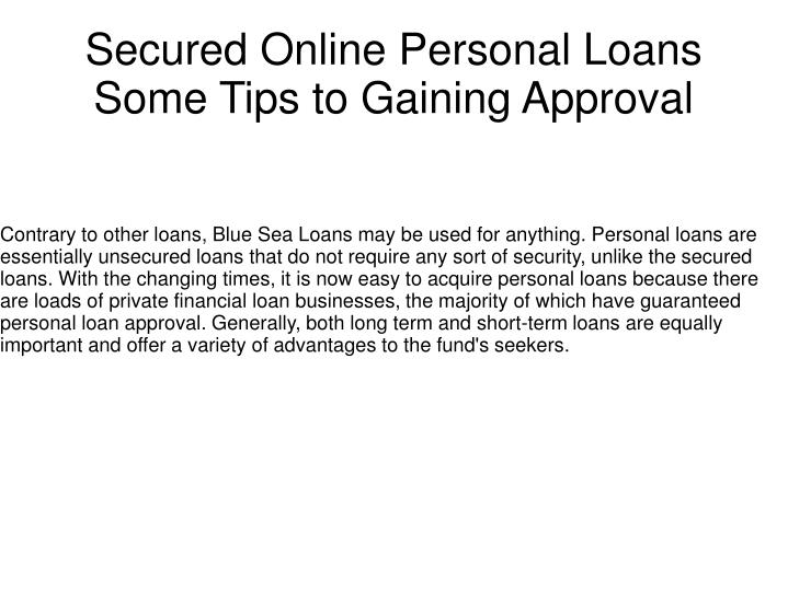 secured online personal loans some tips to gaining approval n.