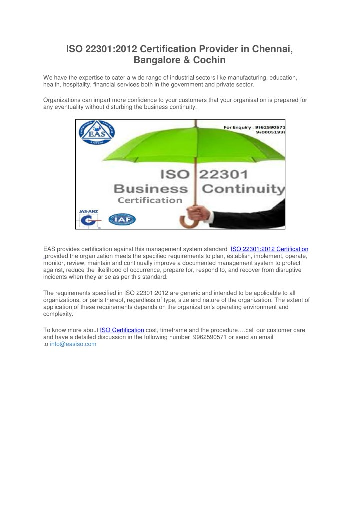 iso 22301 2012 certification provider in chennai n.