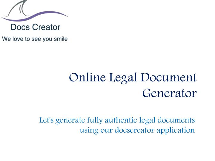 PPT Online Legal Document Generator PowerPoint Presentation ID - Buy legal documents online