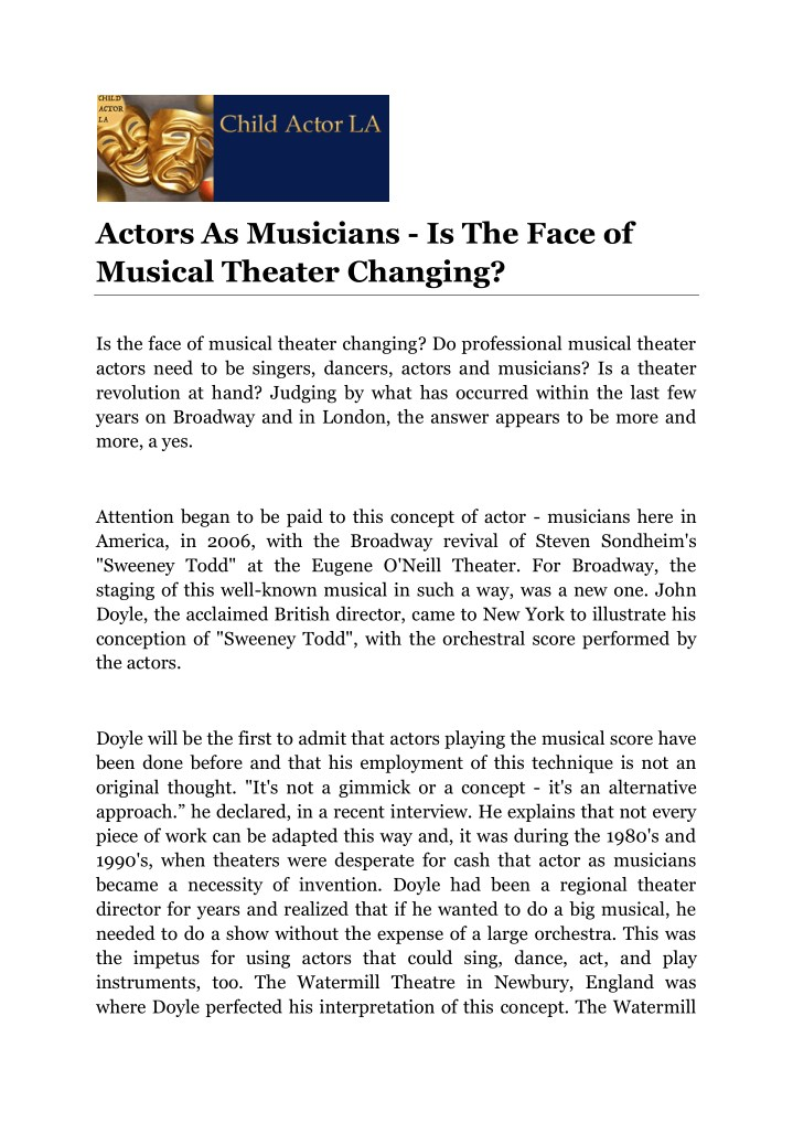 actors as musicians is the face of musical n.
