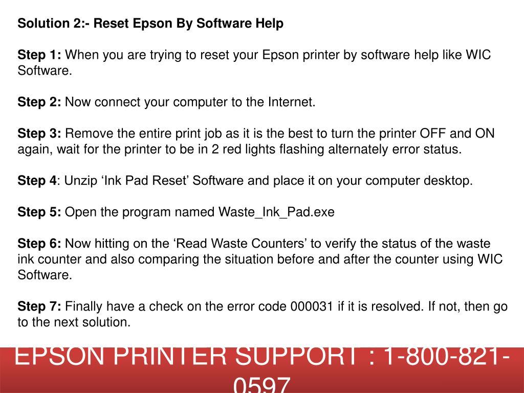 PPT - How to Fix Epson Printer Error Code 000031? 1-800-821