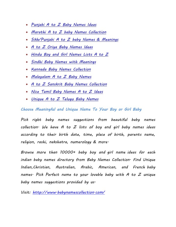Ppt Popular A To Z Unique Indian Baby Names Lists With Meanings